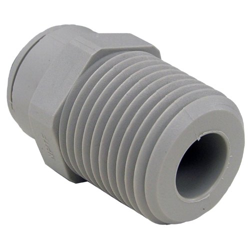 (LASCO 19-6019 Male Pipe Thread Adapter Push-in Fitting with 3/8-Inch OD Tube and 1/2-Inch Male Pipe Thread, Plastic)