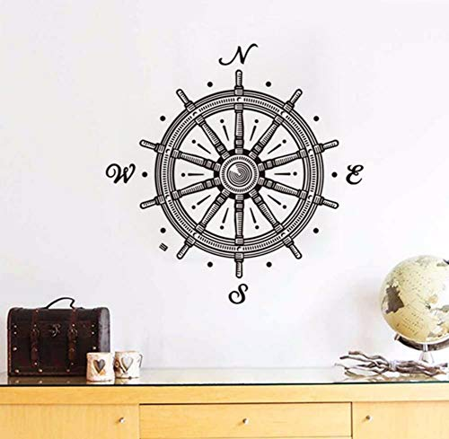 LSFHB Ship Rudder Children Wall Stickers Design and Home Decor Waterproof Bathroom Wall Tile Decals Scandinavian Style Room Decoration 59X60Cm