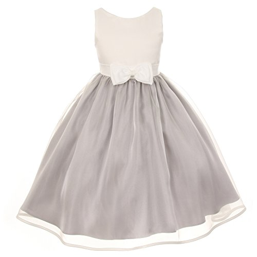 Cinderella Couture Little Girls Silver Ivory Satin Organza Sleeveless Dress 6