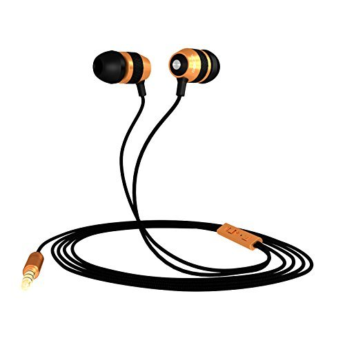 BOCA BOC18 High Definition,Deep Bass,Tangle Free,In Ear Noise Isolating Earphones,Headphones For All Audio Devices (Black/Gold With Volume Control and Mic)