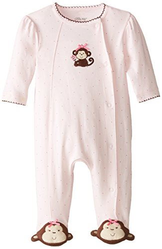 Little Me Baby-Girls Pretty Monkey Footie, Light Pink,
