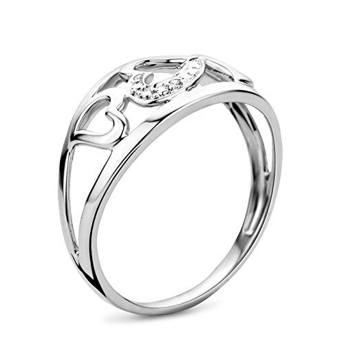 Bague - SA977RO - Femme - Or Blanc 375/1000 (9 Cts) 1.64 Gr - Diamant