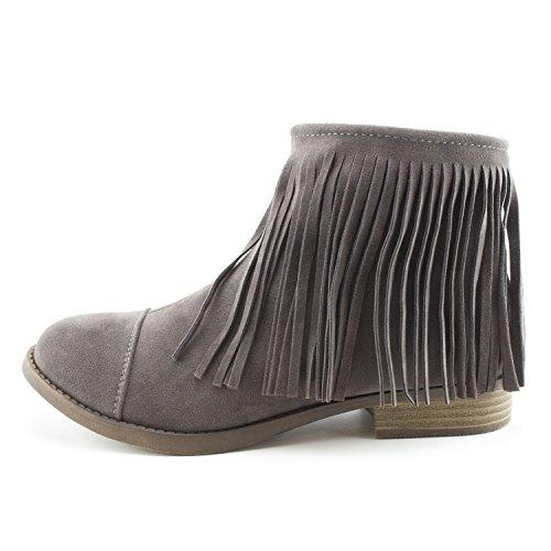 Kali Womens Western Side Zipper Fringe Faux Suede Ankle Booties (Adults) Dk Grey 1XAM3