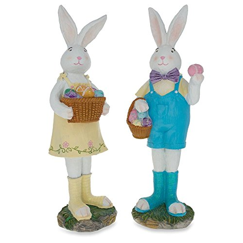 BestPysanky Two Bunny with Easter Egg Figurines 12 Inches