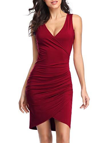 - VETIOR V Neck Bodycon Mini Dress, Sleeveless Ruched Wrap Midi Tank Dresses for Women Wine
