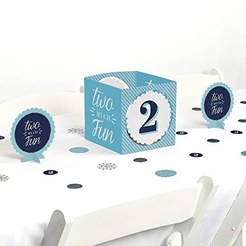 Big Dot of Happiness Two Much Fun - Boy - 2nd Birthday Party Centerpiece & Table Decoration Kit