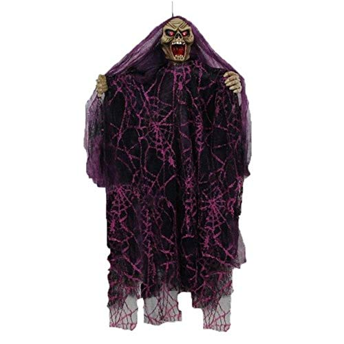 Hakazhi Inc Party DIY Decorations - 1 Piece Terrible Electric Eye Glow Ghosts Halloween Party Decorations Haunted House Props Horror Ghosts Voice Control Toys (Purple)]()