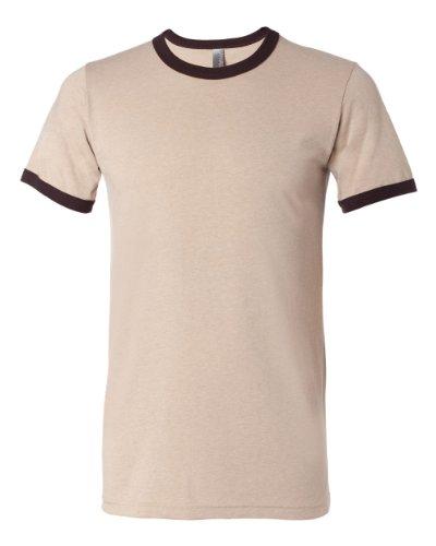 Bella 3055 Mens Jersey Short Sleeve Ringer Tee - Heather Tan & Brown, Small