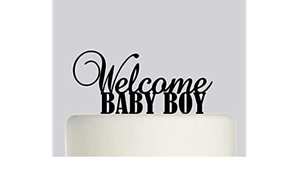 Welcome Baby Boy - New Baby, Son Cake Topper Acrylic Cake