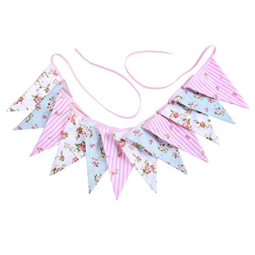 Fabric Bunting Banner Vintage Style Chic Floral Triangle Garlands for Wedding Party Birthday Ceremonies Home Decoration (Scenes Cotton Fabric)