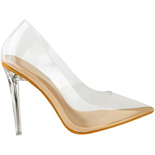 Fashion Patent Shoes Stilettos Pumps Thirsty Size Womens Nude High Clear Perspex Heel Clear Court Party 6rrFU