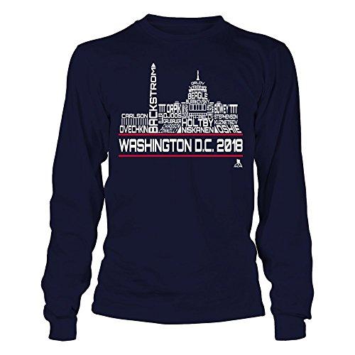 FanPrint Nicklas Backstrom T-Shirt - Washington D.C. Skyline - Roster of 2018 - Longsleeve Tee/Navy/XL