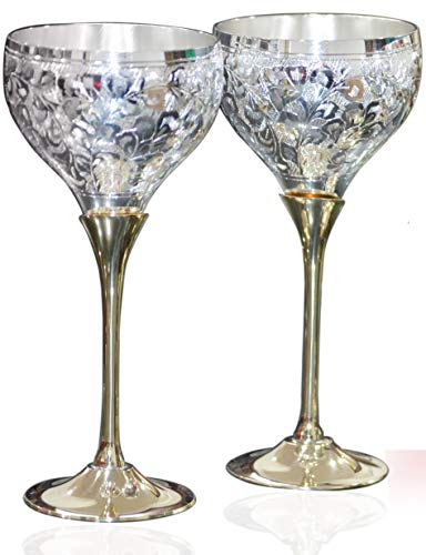 Aanaya Creations Engraved Silver Plated Pure Brass Premium Goblet Champagne Coupes Wine Glass Set Of 2 ()