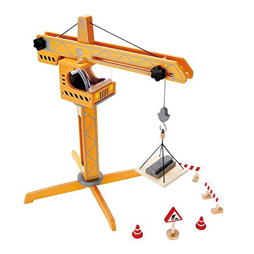 MRT SUPPLY Wooden Construction Site Crane Play Set with Ebook