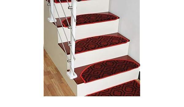 Hogar antideslizante Mat escalera de madera sólida escalera Alfombra pegamento libre auto-adhesivo de velcro Escaleras sólido de color Mat (Color : Black red B , Size : 65*24*3 [Magic buckle]) : Amazon.es: Hogar