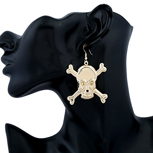Dwcly Gold Plated Devil Head Explosion Sign Hook Earring Personnality Drop Earring