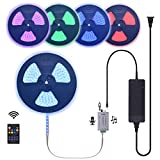 120 Ft RGB Music Control LED Strip Light Kit Waterproof Long Runs Continuous Length Outdoor Landscape Rope Light with Audio Input Sound Sensor RF Controller & Power Supply