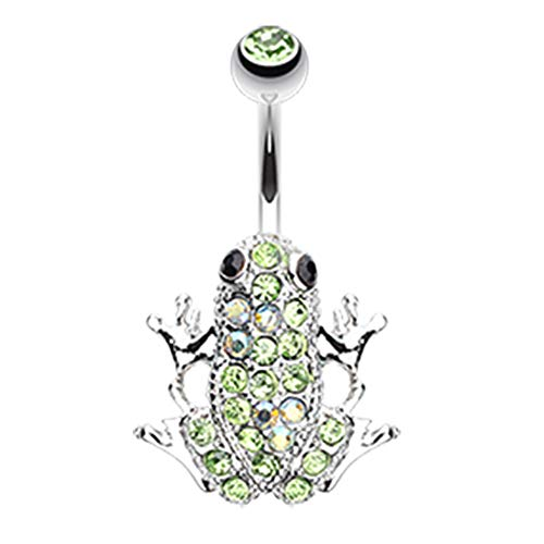 (Inspiration Dezigns Belly Button Navel Curved Barbell Ring Amazon Green Frog Surgical Steel 14G (Light Green/Aurora Borealis))