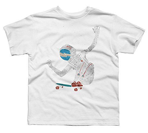 Design By Humans Space Board Boy's Small White Youth Graphic T Shirt