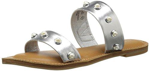 Rampage Women's Mindy Two-Band Pearl Slide Sandal Silver/Pearls rghipaMXb