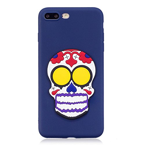 Funda iPhone 7 Plus Silicona, Carcasas iphone 8 Plus Case Cover Dibujos Animados Flexible TPU Opaco Ultra Delgado Ultra Ligero Goma Caja Suave Gel Shock-Absorción,Anti-Arañazos y Anti-Choque Bumper Pr Cráneo