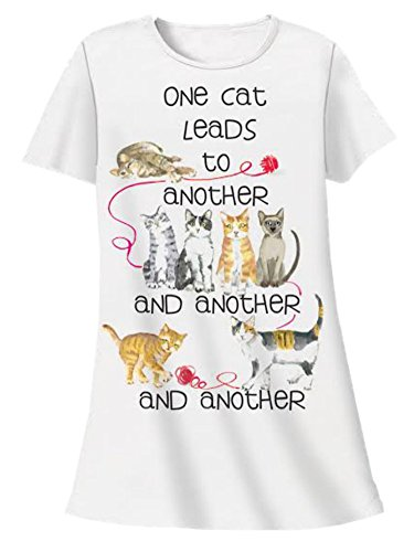 Nightshirt All Cotton One Cat Leads to Another,White,One Size