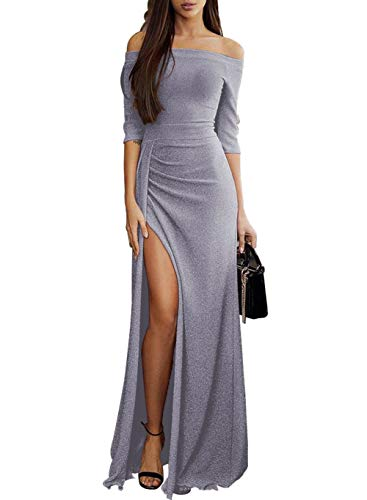 - Sparkling Bridesmaid Dress Maxi Evening Prom Dresses Off Shoulder High Slit Half Sleeves Evening Party Prom Dress Small (4-6) L- Gray