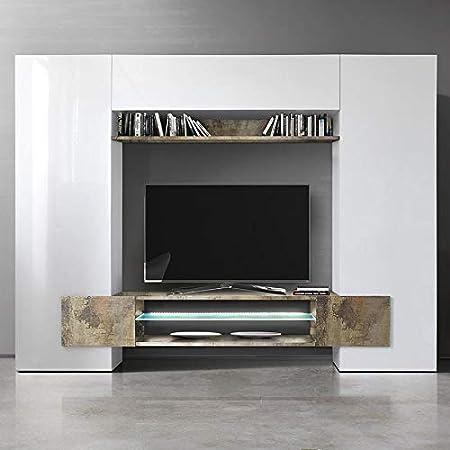 Kasalinea Eros 2 - Mueble para televisor de Pared, Color Blanco Lacado y Madera: Amazon.es: Hogar