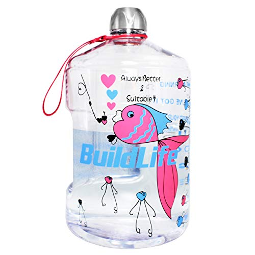 QuiFit 1 Gallon Sports Water Bottle with Motivational Time Marked Reusable Leak-Proof BPA Free Drinking Water Jug Stay Hydrated After Outdoor Camping and Exercise(Dream Fish)