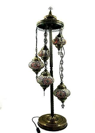 Marrakesch - Lámpara de pie para interior (cristal, 5 luces ...