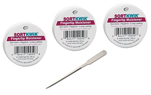 LEE 10050 Sortkwik Fingertip Moisteners, 3/8 oz, Pink, 3 Pack - Bundle Includes Universal Letter Opener