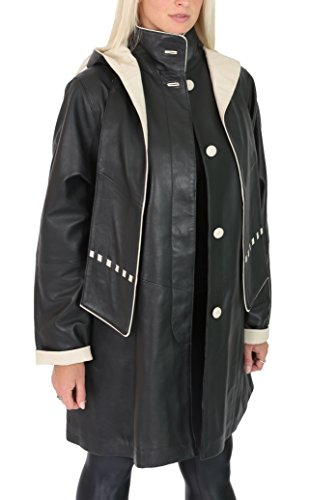 (Ladies Leather Coat Detachable Hooded Classic 3/4 Length Parka Debra Black (Medium))