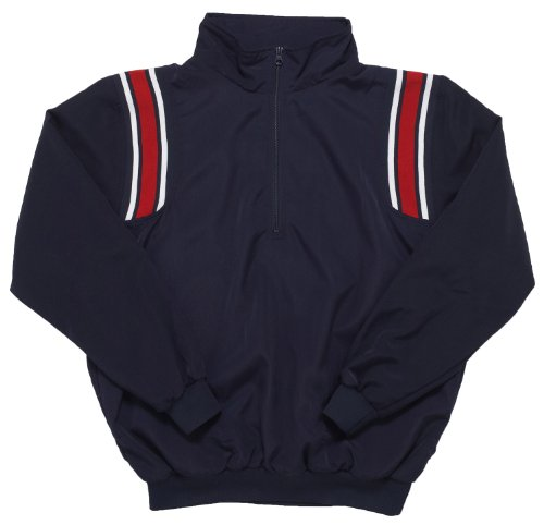 Adams USA Smitty Umpire 1/2 Zip Long Sleeve Pullover Jacket (Navy/Scarlet, X-Large)
