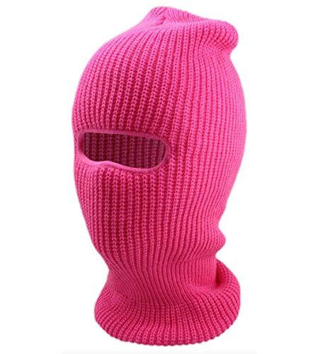 Ski Mask Full Face Beanie Hat 1 Hole Balaclavas Winter Hat Ski Snowboard (Hot Pink)