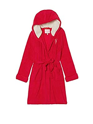 Victoria's Secret Monogrammed Short Hooded Plush Robe Red NWT Small