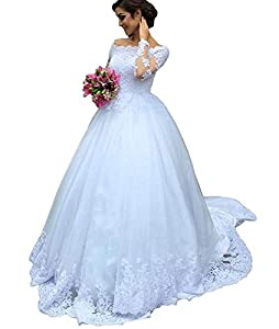 Yilian Women's Long Sleeves Lace Appliques Wedding Dresses for Bride 2018 Bridal Gowns