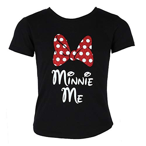 Disney Minnie Me Red Sparkle Polka Dot Bow T-Shirt for Daughters (Girl's, Medium)