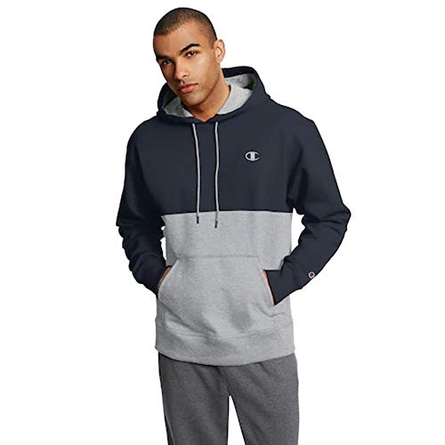 Champion Mens Graphic Powerblend Fleece Hood (X-Large, Colorblock Navy/Oxford - Mens Fleece Pullover Colorblock