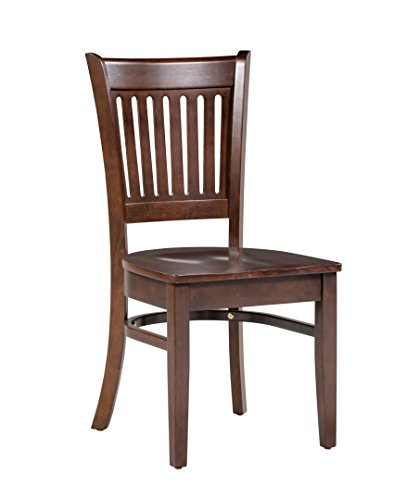 Trithi Furniture Bellingham Asian Solid Wood Kitchen & Dining Esso Brown Chair with Wooden Seat - Set of 2