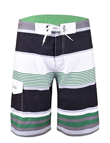 (Unitop Men's Beachwear Striped Plaid Surfing Board Shorts Quick Dry Green-63 36)