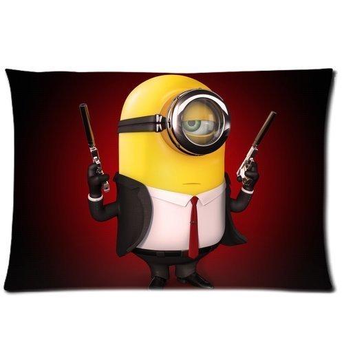 Cool Minion with Guns Custom Design Pillowcase Pillow Sham Pillow Cushion Case Cover Two Sides Printed 20x30 Inches