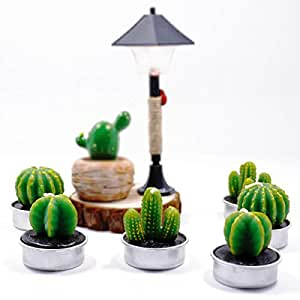 Cactus Candles Cacti Decorative Green Succulents Candles Tea Light for Home Birthday Party Wedding Decor 6 Pcs