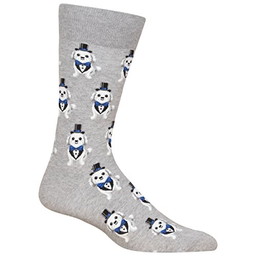 Hot Sox Men's Wedding Bliss Novelty Casual Crew Socks, Tuxedo dog (grey Heather), Shoe Size: 6-12