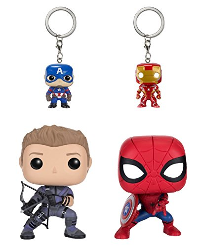 Funko POP Marvel: Civil War Hawkeye Spiderman, Iron Man & Captain America Keychain (Captain Pop America Marvel Funko)