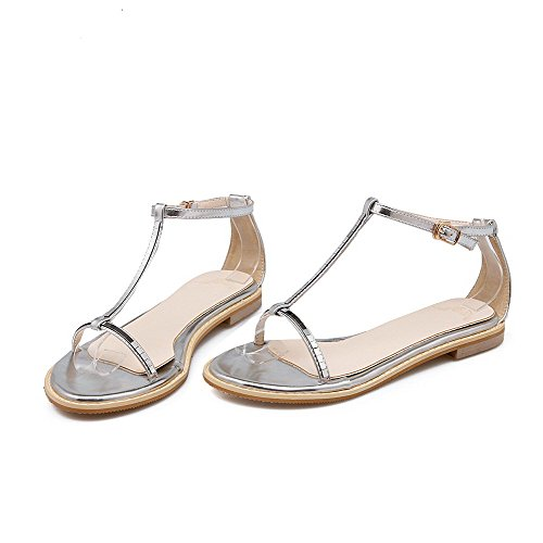 AmoonyFashion Womens Soft Material Buckle Open Toe Low-heels Solid Sandals Silver qnV4ZFo