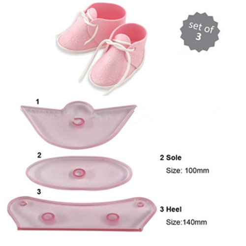 Saasiiyo 3Pcs/set Baby Birthday Sneaker Shoe Silicone Mold Fondant Cake Decorating Tools Embosser Cookie Cutter Sugarcraft Moule Silicone -