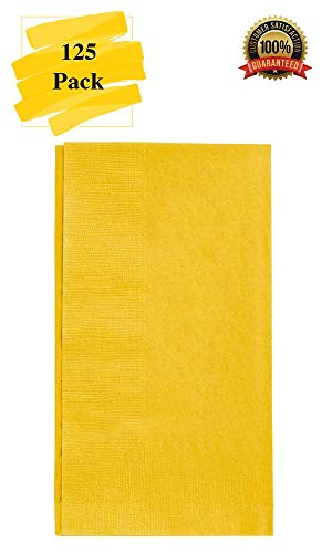 MM Foodservice 125 Count 2 Ply Paper Dinner Napkins perfect for Weddings, Parties, Dinners or Events (YELLOW) -