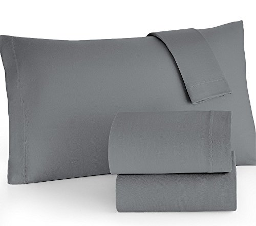 Brielle Easy Care Microfiber Jersey Knit (T-Shirt) Sheet Set, Full, Grey
