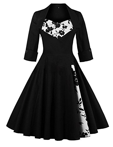 Buy black 40s style dress - 7