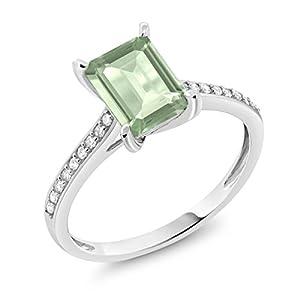 10K White Gold 1.63 Ct Emerald Cut Green Prasiolite and Diamond Engagement Ring